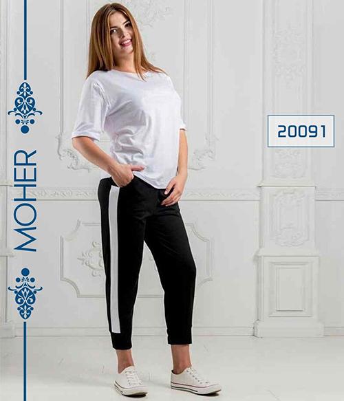 خرید ست تیشرت شلوار راحتی سایزبزرگ رنگ سفید